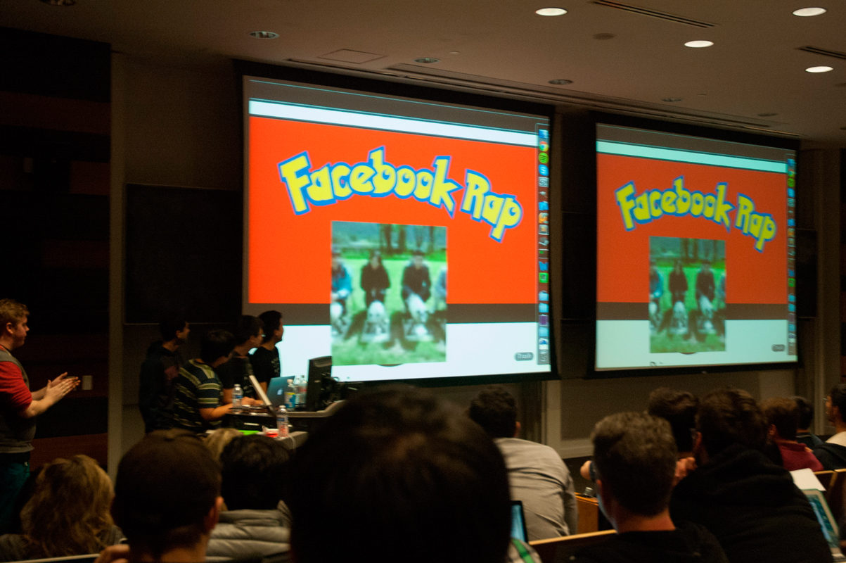 "PokeFriends! presents their app, which plays a custom version of ""PokeRap."" (credit: Josh Smith)"