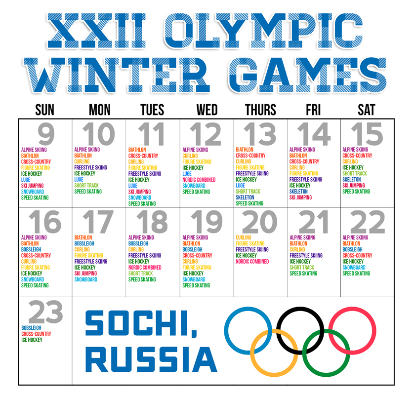 Keep track of all of the Olympic events this winter. (credit: Anne-Sophie Kim/Assistant Layout Manager)