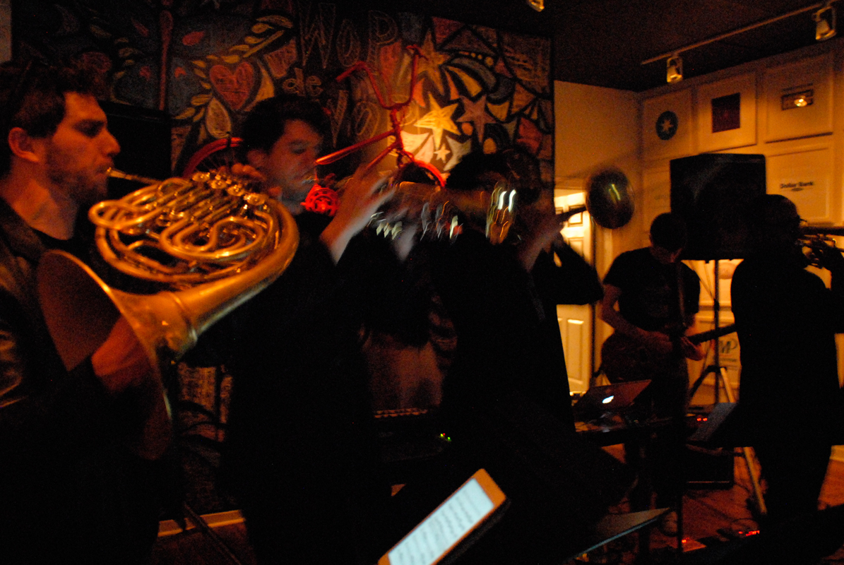 Comprised of Carnegie Mellon graduate students, C Street Brass lends a distinct flavor to Jakeisrain's electronic beats. The combination creates a sound that is both incredibly modern while also rooted in more traditional music tastes. (credit: Chloe Thompson/)
