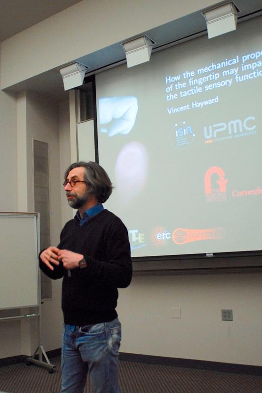 Hayward speaks at robotics lecture on topic of fingertip function. (credit: Abhinav Gautam/)