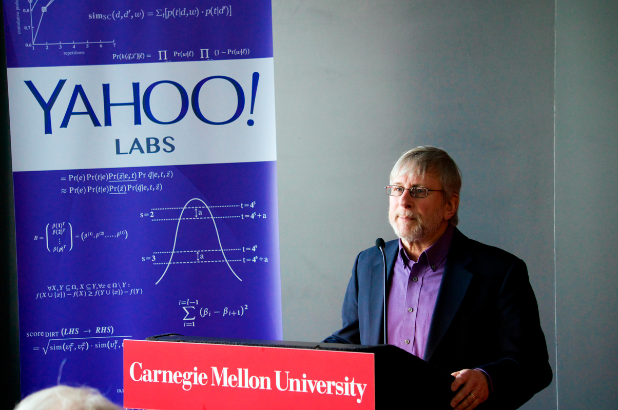 Chief Scientist of Yahoo, Ron Brachman, spoke on the benefits of the partnership during a press event Wednesday morning.  (credit: Abhinav Gautam/)