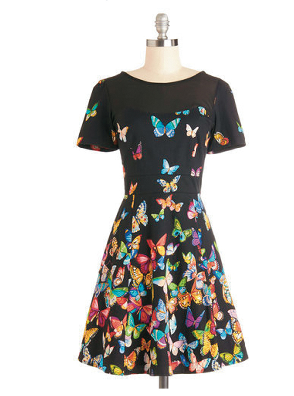 "The ""Flutter to the Fete"" dress, which sells for $94.99, is an example of a kind of dress found at ModCloth. (credit: Screenshot courtesy of _modcloth.com_)"