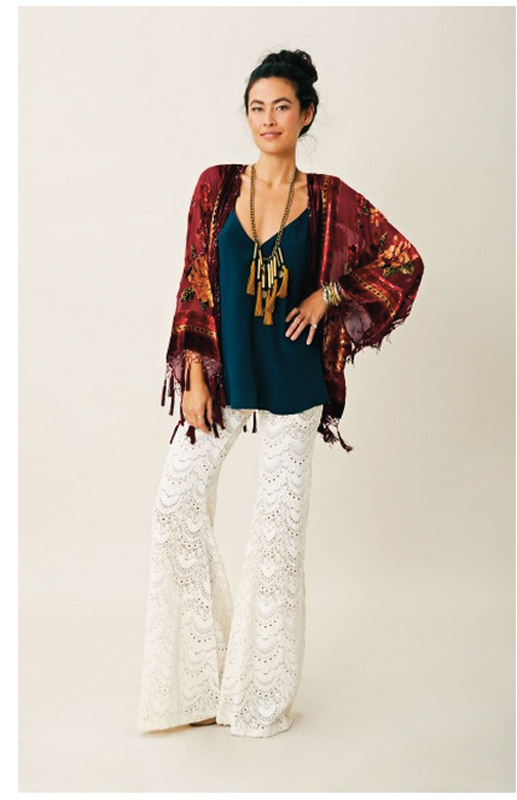 "The ""Beaded Silk Short Burnout,"" which sells for $220, is an example of a kind of kimono found at Planet Blue, a favorite of celebrity trendsetters. (credit: Screenshot courtesy of _shopplanetblue.com_)"