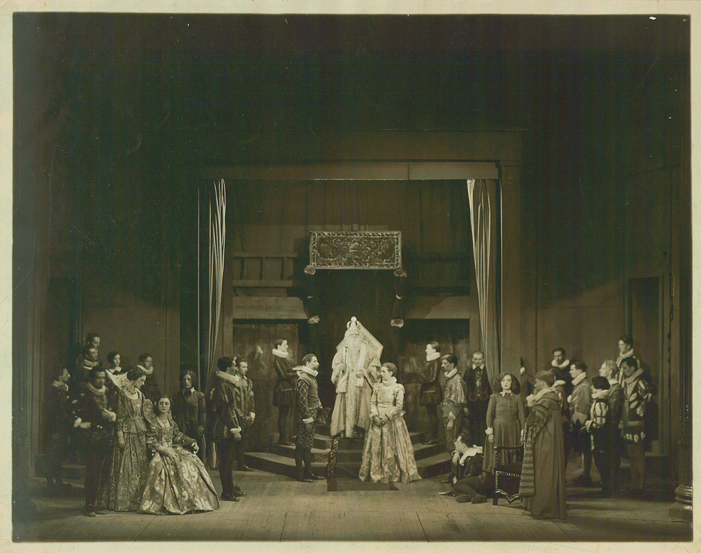 In 1927. amidst the hubbub of the roaring '20s, the School of Drama staged of production of what is arguably William Shakespeare's most somber play, _King Lear_, directed by E. Martin Browne. At the time, Browne also worked with poet T.S. Eliot to produce some of the author's plays. Performing the titular Lear, who descends into madness after dismissing the only daughter out of his three who loved him too much to flatter his ego, is considered one of the greatest accomplishments an actor can acieve. (credit: Courtesy of Carnegie Mellon University Archives, Hunt Library)