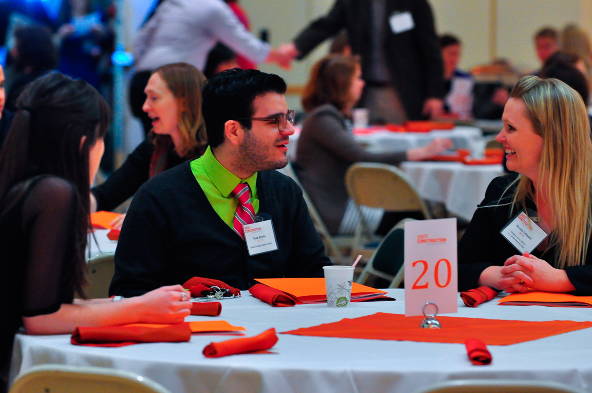 Dietrich College students discussed their career interests with alumni in their fields at lunch during Under Construction, a career networking event.  (credit: Jason  Chen/)