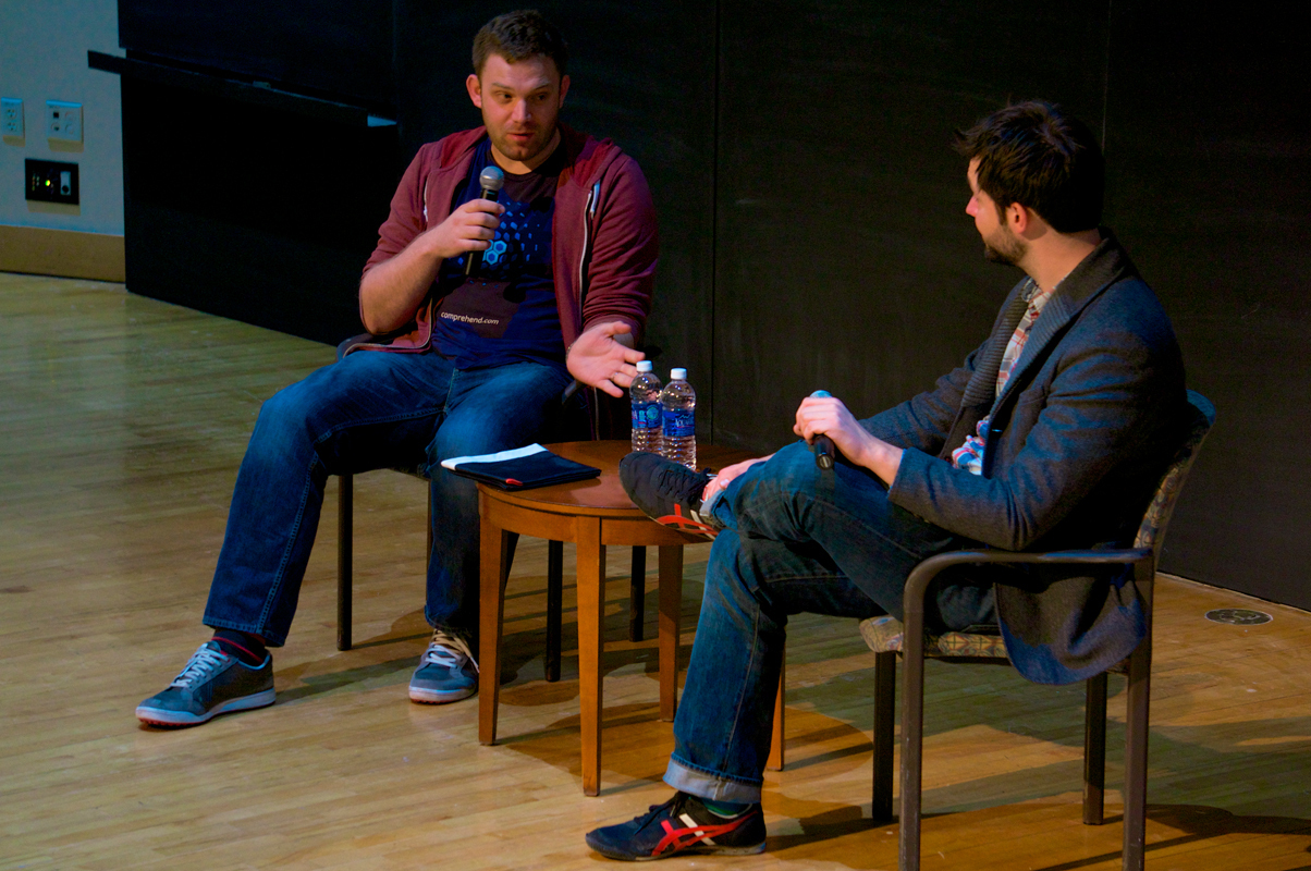 Alexis Ohanian (right), co-founder of Reddit, talked to Rick Morrison (SCS '03) about entrepreneurship and the role failure plays in success.  (credit: Abhinav Gautam/)