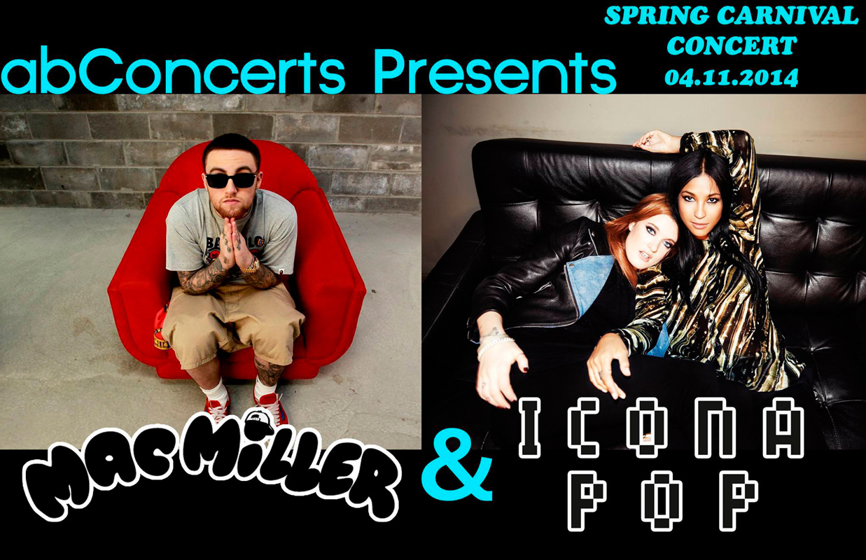 Activities Board: Concerts announced Wednesday this year's Spring Carnival concert will feature Icona Pop, a Swedish pop duo, and Mac Miller, a rapper native to Pittsburgh.  (credit: Courtesy of Activities Board)