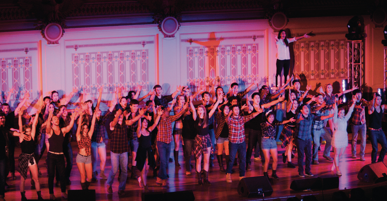 "Sigma Phi Epsilon and Delta Gamma performed an adaption of the Elvis Presley ""jukebox musical,"" _All Shook Up_, that featured a number of the King's best tunes and Shakespearean-style cross dressing love story. (credit: Courtesy of Fabienne Hudson)"