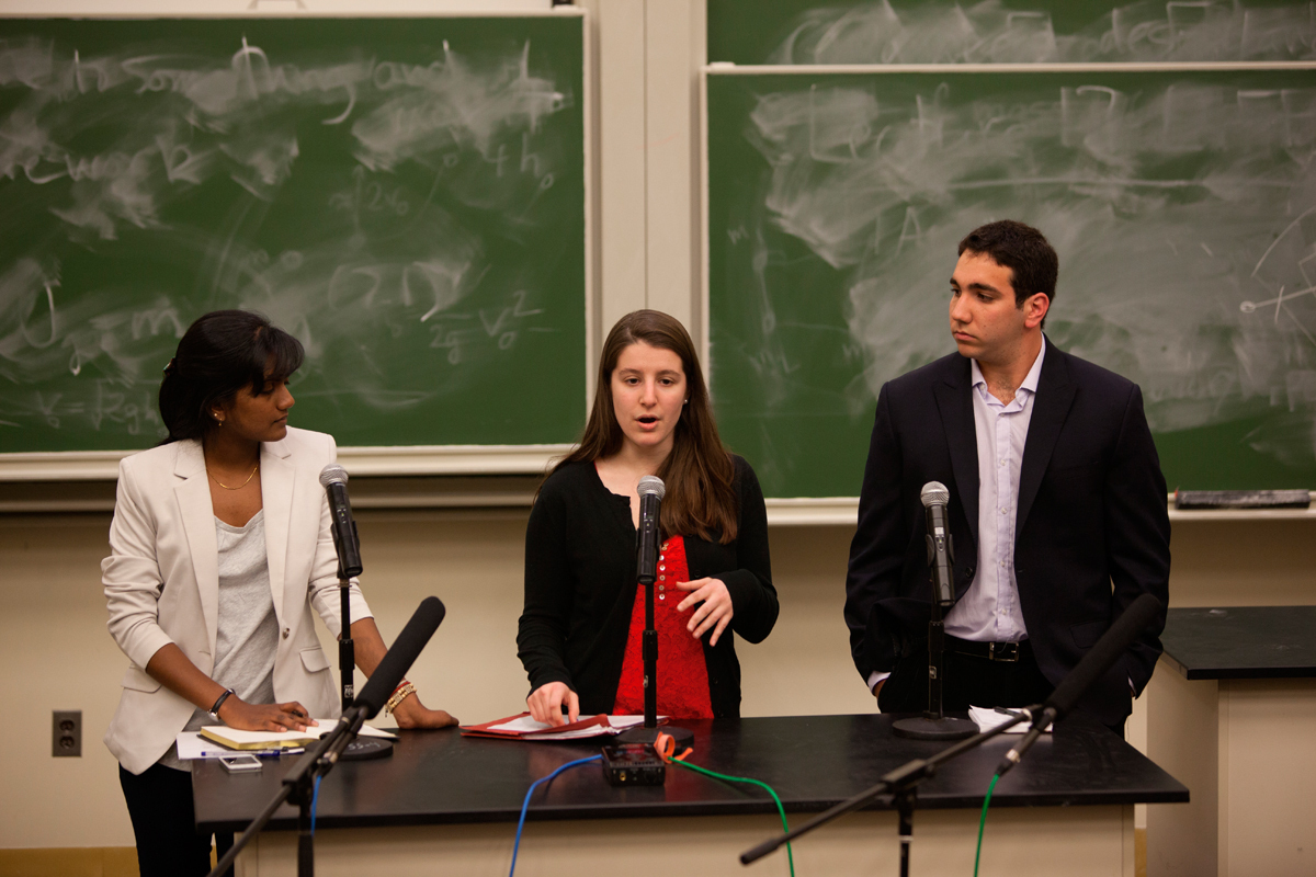 The first debate of Wednesday evening for the position of SBVPF was between three candidates: sophomore electrical and computer engineering major Divya Kothandapani, junior chemical engineering major Elena Karras, and junior economics major Matthew Greenberg. (credit: Jonathan Leung/Photo Editor)
