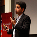 Sal Khan's Thursday morning lecture filled Rashid Auditorium. Khan explained how he began Khan Academy and discussed the possibiliites of online education.