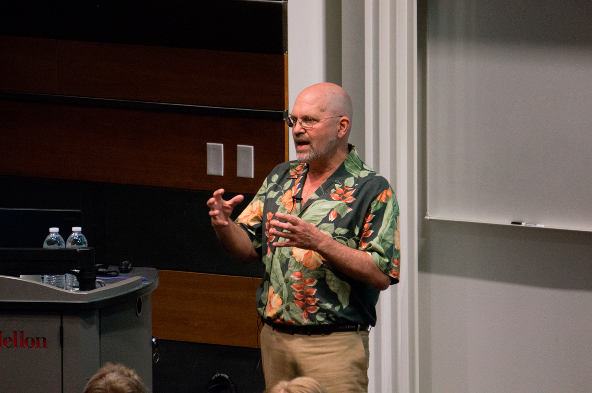 Boston Dynamics director Marc Raibert gave a robotics lecture at CMU. (credit: Abhinav Gautam/)
