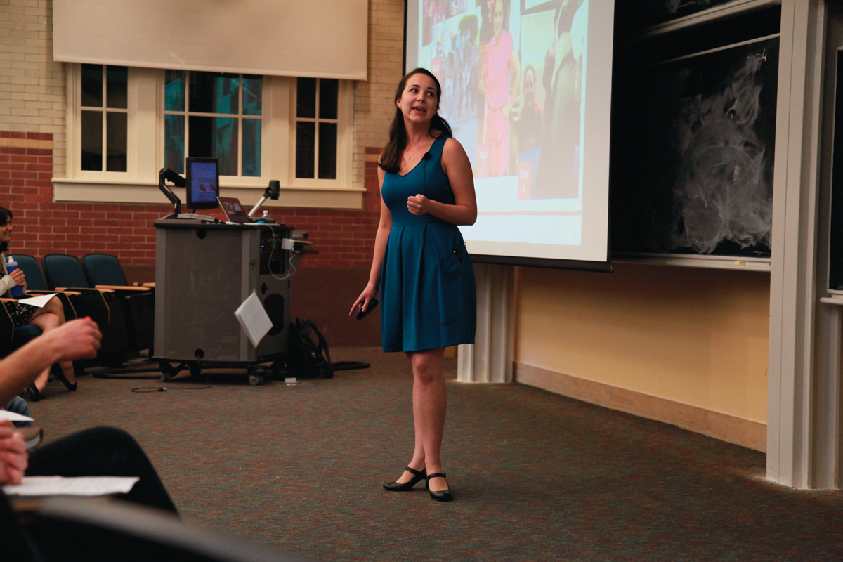 """Senior biological sciences and psychology major Lindsay MacGillivray explained her definition of success in her """"First Lecture"""" on Thursday.  (credit: Michelle  Wan /Art Editor)"""