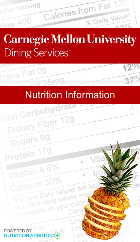 Dining Services introduced a new mobile app for iOS and Android that lets students track the nutrition of the food at every campus dining.  (credit: Screenshots via Carnegie Mellon's Nutrition app)