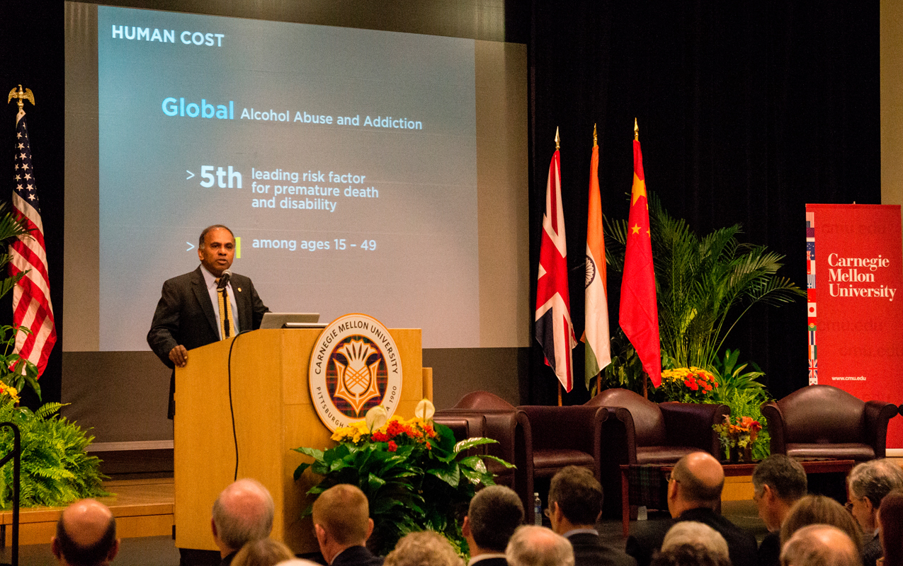 University President Subra Suresh spoke about Carnegie Mellon's plan to work across disciplines and across the world to better understand the human brain.  (credit: Abhinav Gautam/)