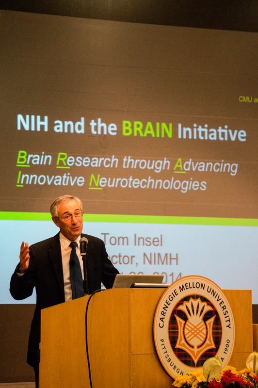 Tom Insel, Director of the National Institute of Mental Health, spoke about BrainHub, Carnegie Mellon's newly announced brain research initiative.  (credit: Abhinav Gautam/)
