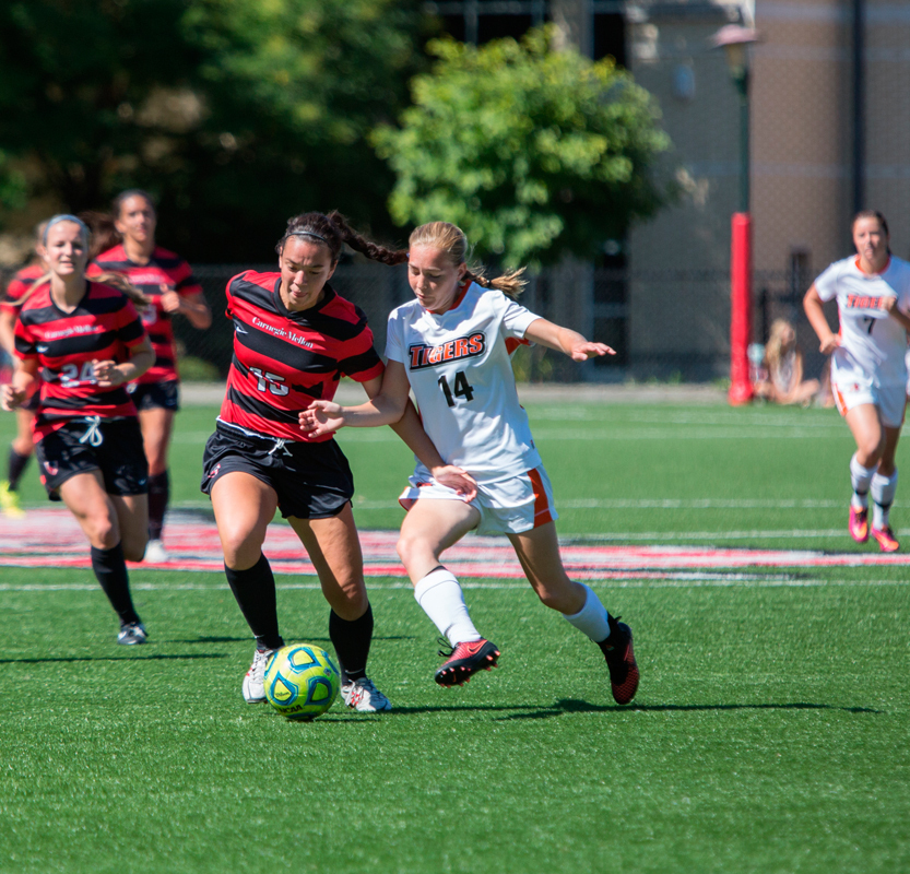 First-year forward Sienna Stritter takes control of the ball. (credit: Jonathan Leung/Photo Editor)