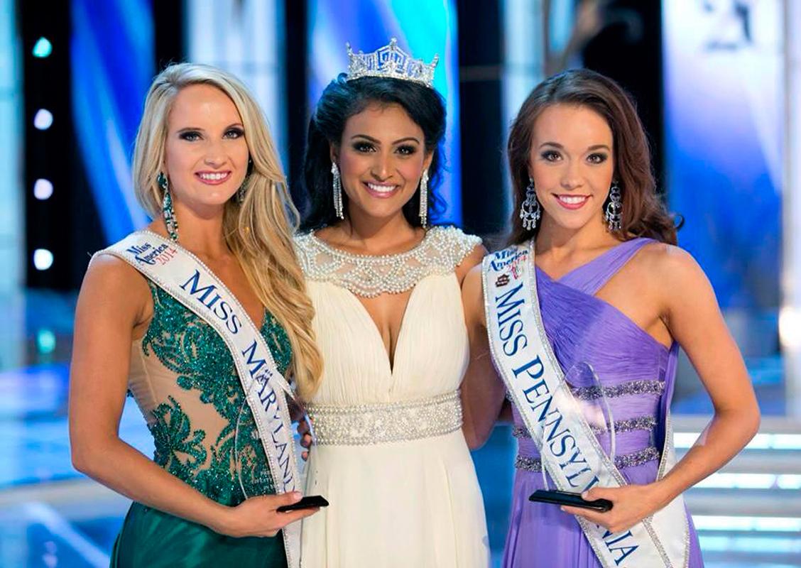 Junior musical theatre major Amanda Fallon Smith (right) poses next to Miss America 2014 Nina Davuluri (center) and Miss Maryland Jade Kenny (left). (credit: Courtesy of Amanda Smith)