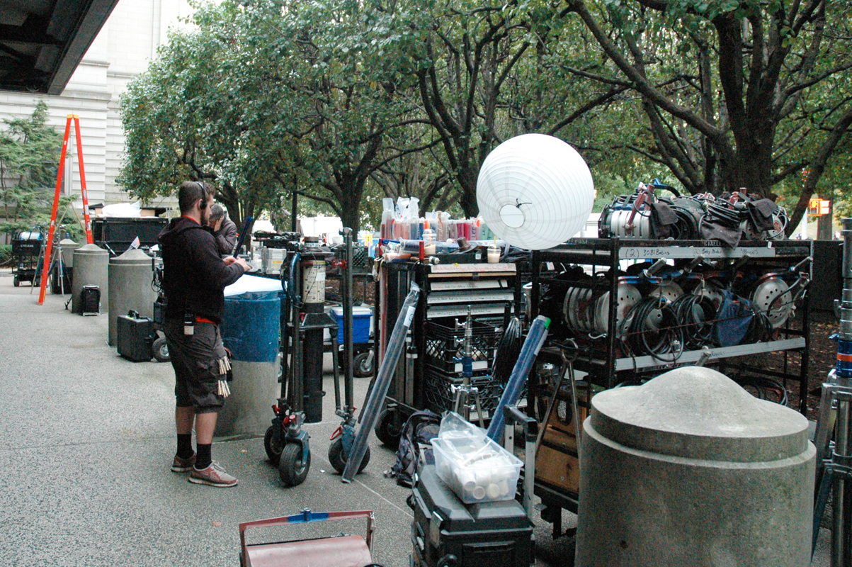 The crew for The Last Witch Hunter prepares for filming last week on Forbes Avenue. (credit: Justin McGown/)