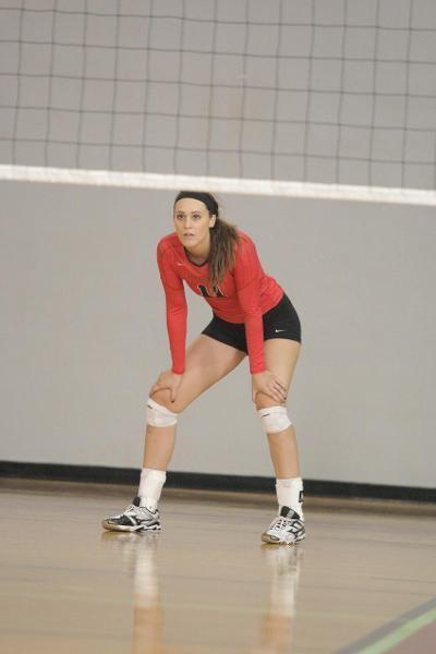 Heather Holton, first-year outside hitter, is among the team leaders in kills. (credit: Courtesy of Carnegie Mellon Athletics)