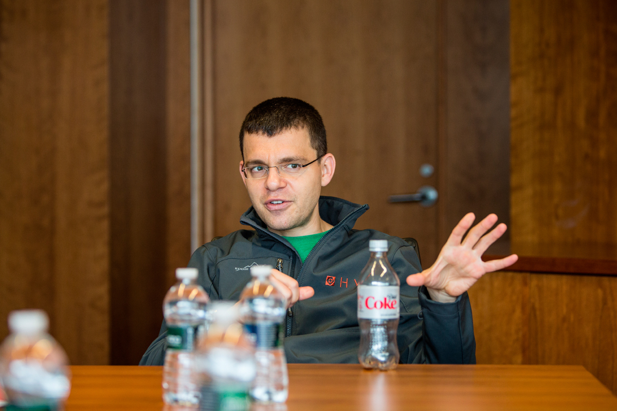 Co-founder of PayPal Max Levchin speaks at a press roundtable. (credit: Jonathan Leung/Photo Editor)