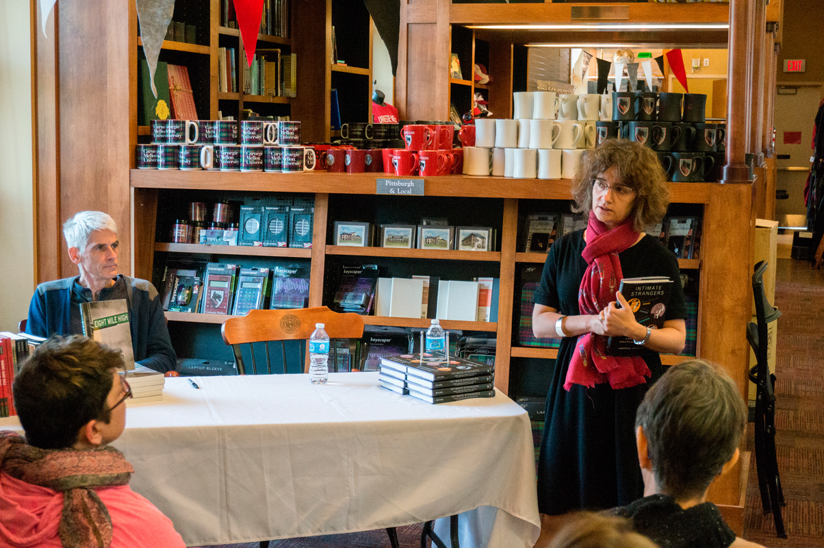 Jim Daniels (left) and Ritivoi (right) presented their works to a modest audience in the university bookstore. (credit: Abhinav Gautam/)