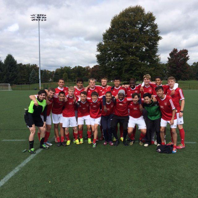 Men's club soccer lines up for a team photo. (credit: Courtesy of Gerard Kramer)