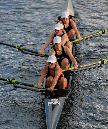 The Women's varsity crew club rows in the Charles. (credit: Courtesy of Julia Embody)