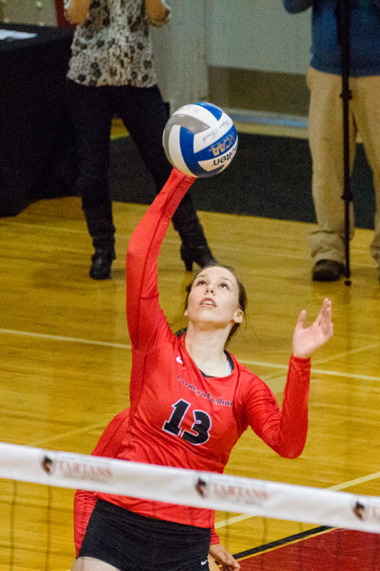 Senior right side hitter Ali Celentano sets up for a kill. (credit: Staff Photographer)