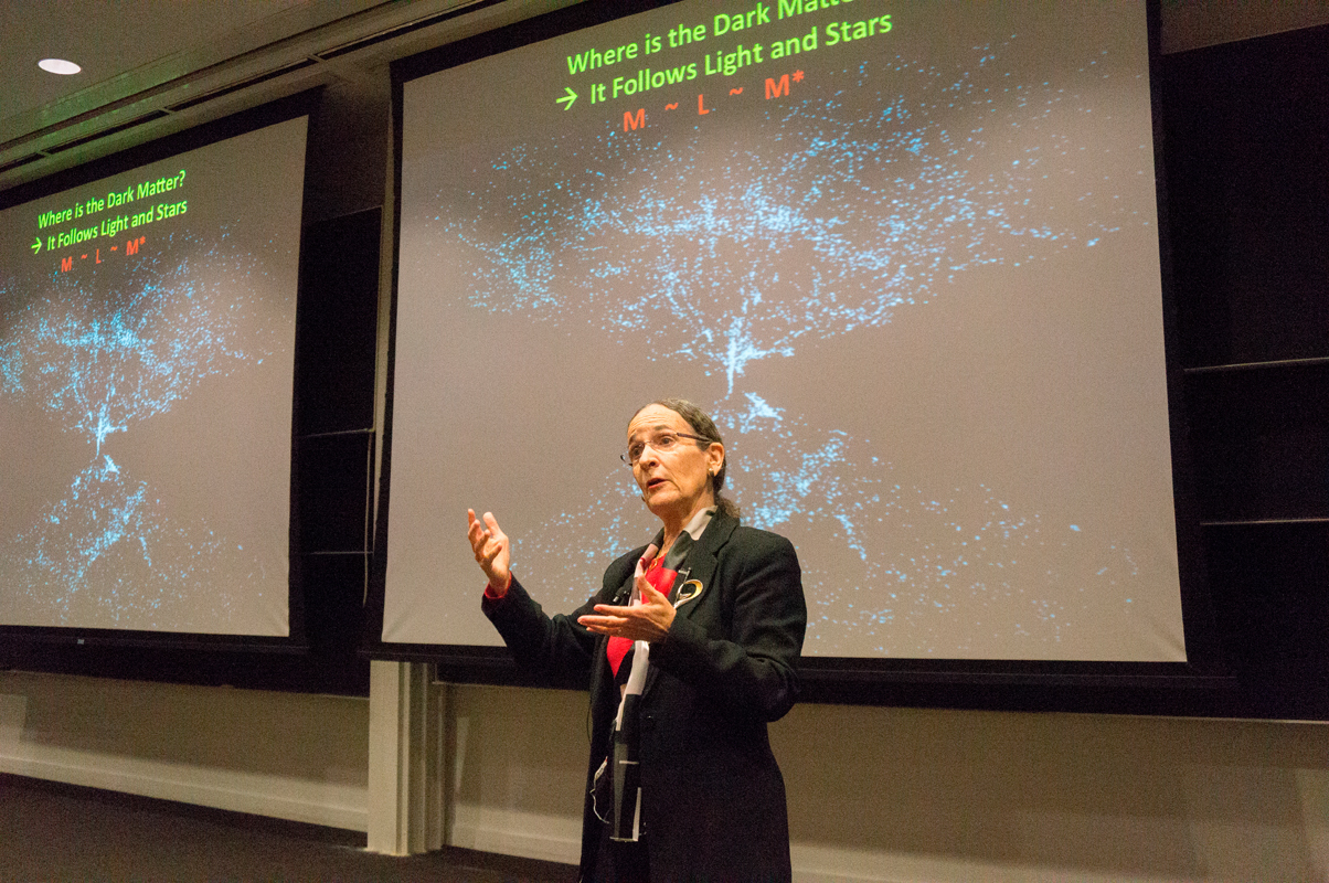 Neta Bahcall, professor of astrophysics at Princeton University, discussed the matter-to-light function at the third annual Bennett-McWilliams lecture. (credit: Abhinav Gautam/)