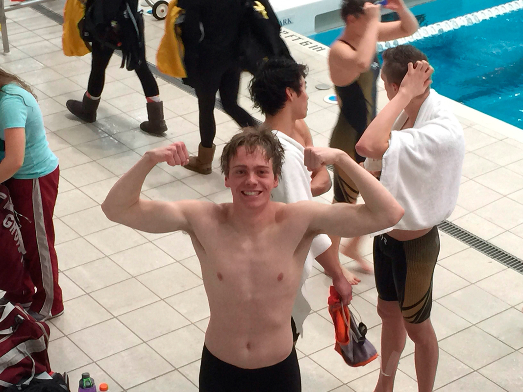 Steinhouse celebrates shortly after breaking CMU 50-yard free record. (credit: Courtesy of CMU Athletics Department)