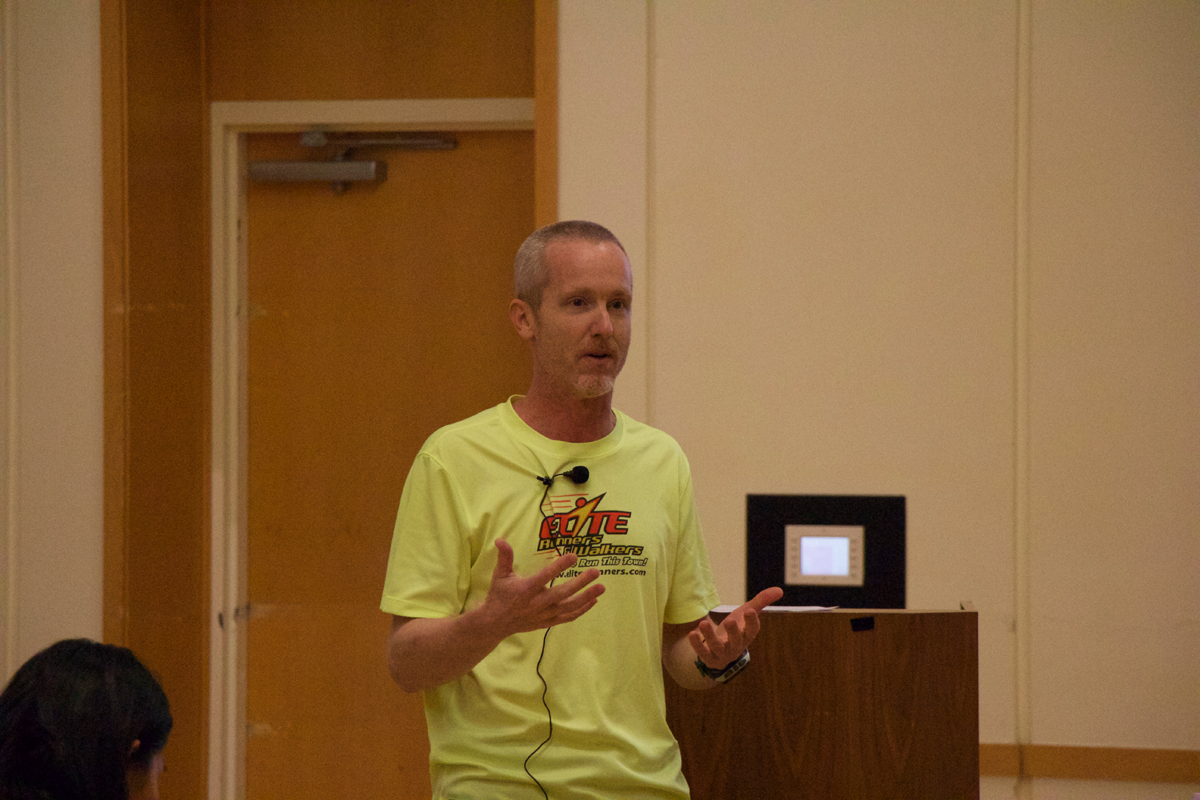 Matt Imhof giving his lecture on how to run a marathon or half marathon