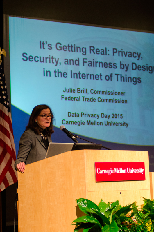 Julie Brill, Commissioner of the Federal Trade Commission and keynote speaker at CMU Privacy Day 2015, spoke about the need for data privacy.  (credit: Jonathan Leung/Photo Editor)