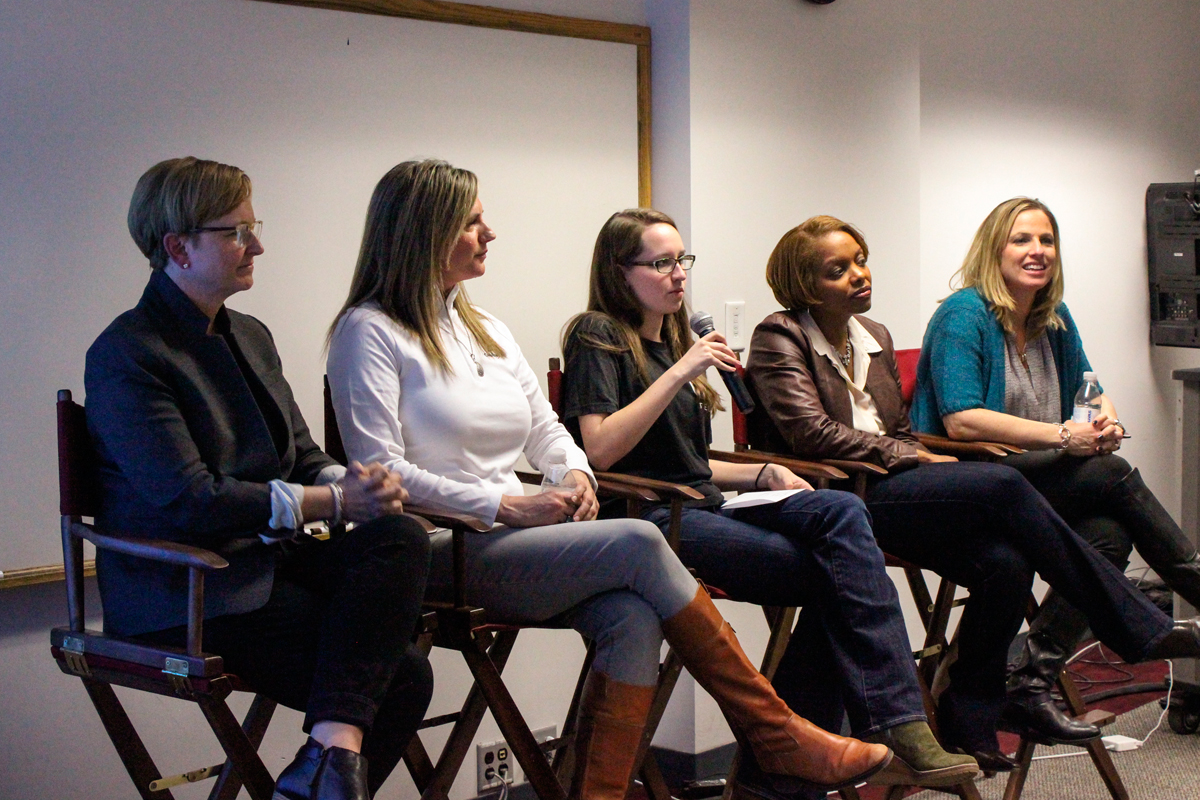 A panel of women working at Capital One discussed various issues pertaining to women in technical fields.  (credit: Kruti Koppolu/)