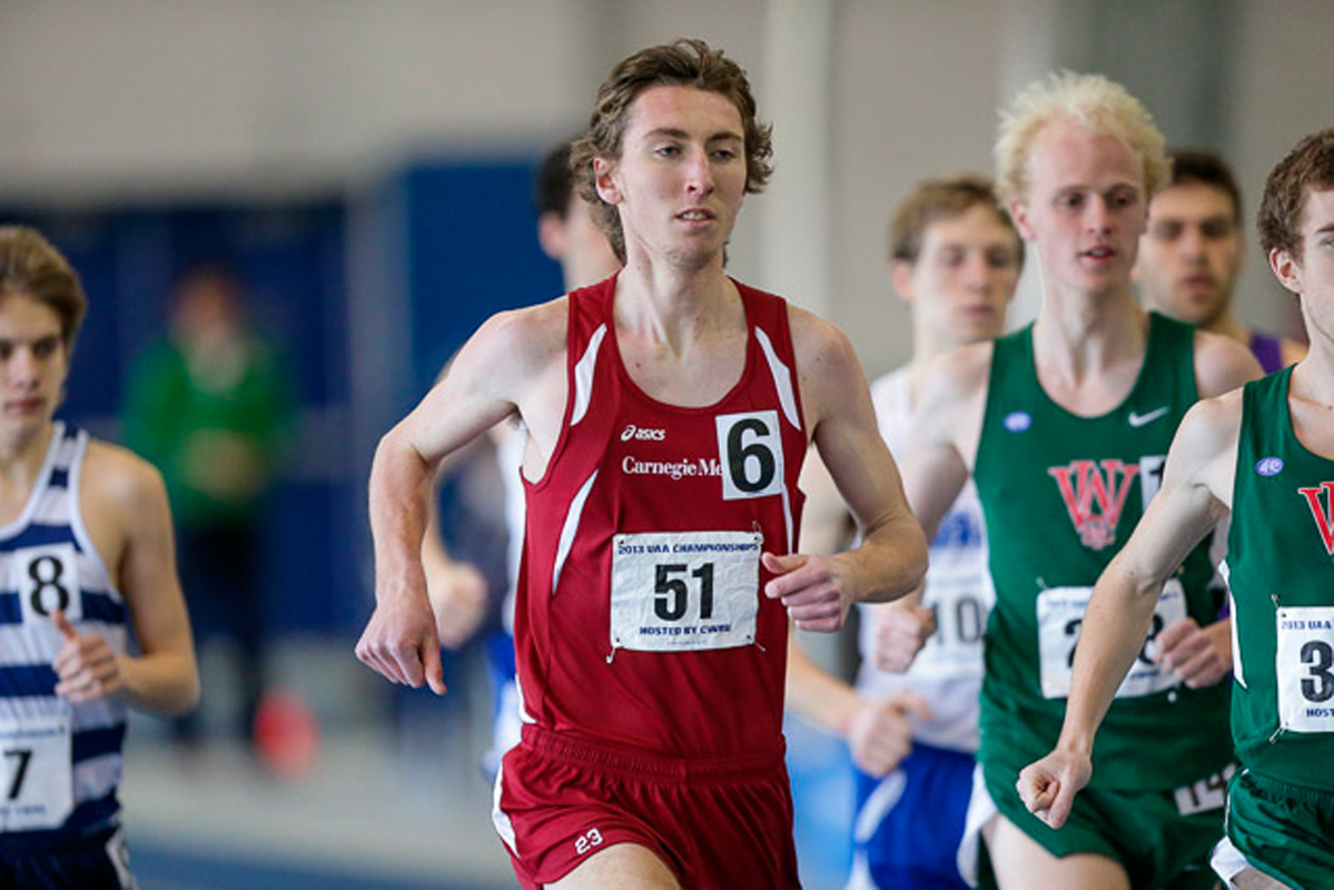 Degen runs in the 2013 NCAA Indoor Championships. (credit: Courtesy of Carnegie Mellon Athletics Department)