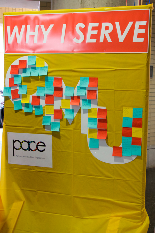 Students wrote why they volunteer during PACE's volunteer appreciation event. (credit: Andy Birla/Staff Photographer)