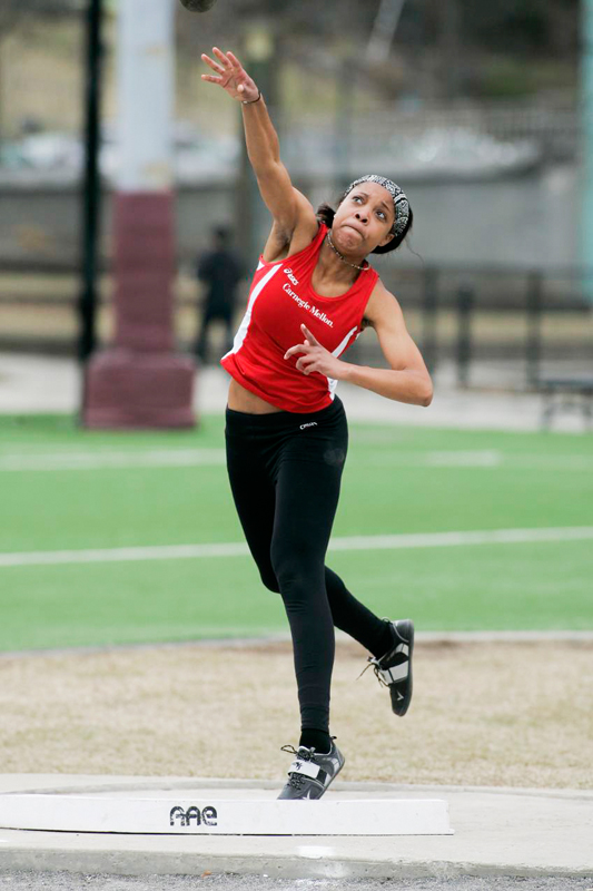 Shot put is among the myriad track and field events Sasha Spalding has found success in. (credit: Courtesy of CMU Athletics Dept.)