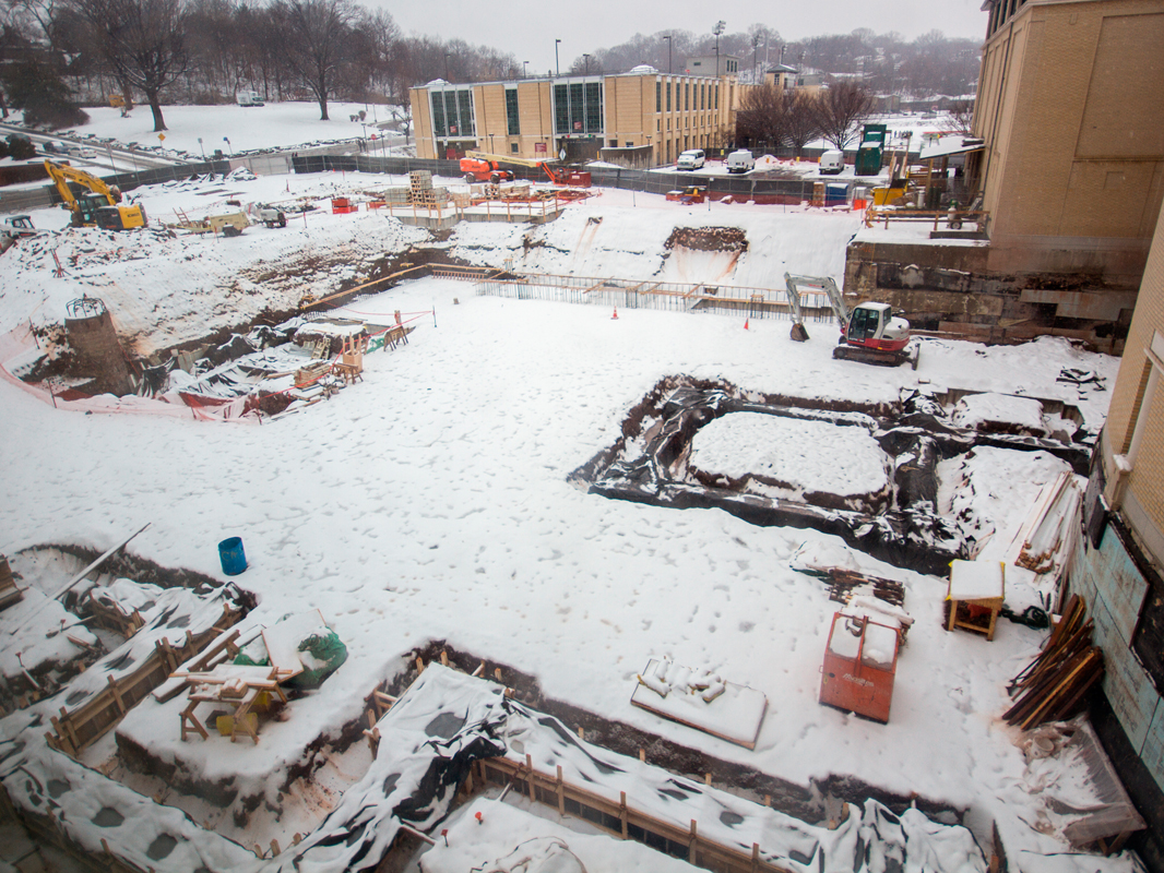 The Jared L. Cohon University Center is in the midst of an addition, pictured above, and extensive renovations; the building's locker rooms and swimming and diving pool will be closed beginning on March 23.