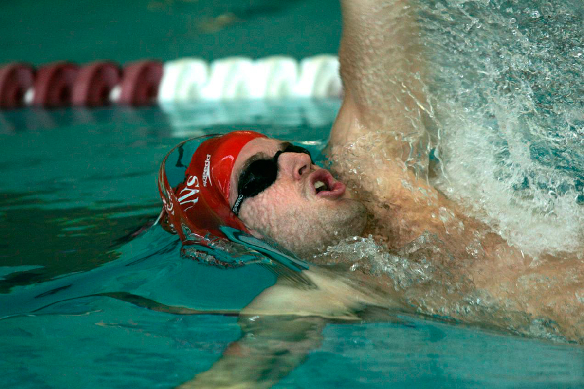 Josh Lucheon swims the backstroke.