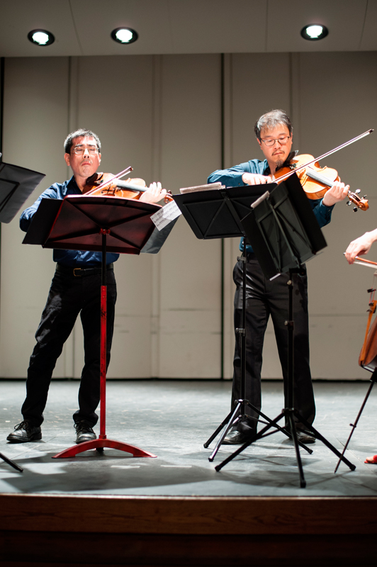 Violinist Rick Shinozaki and violist Charlton Lee play each of the challenging pieces with animation and personality.