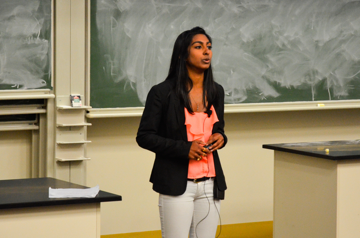 Senior biological sciences major Shalini Ray spoke as a part of the First Lectures.