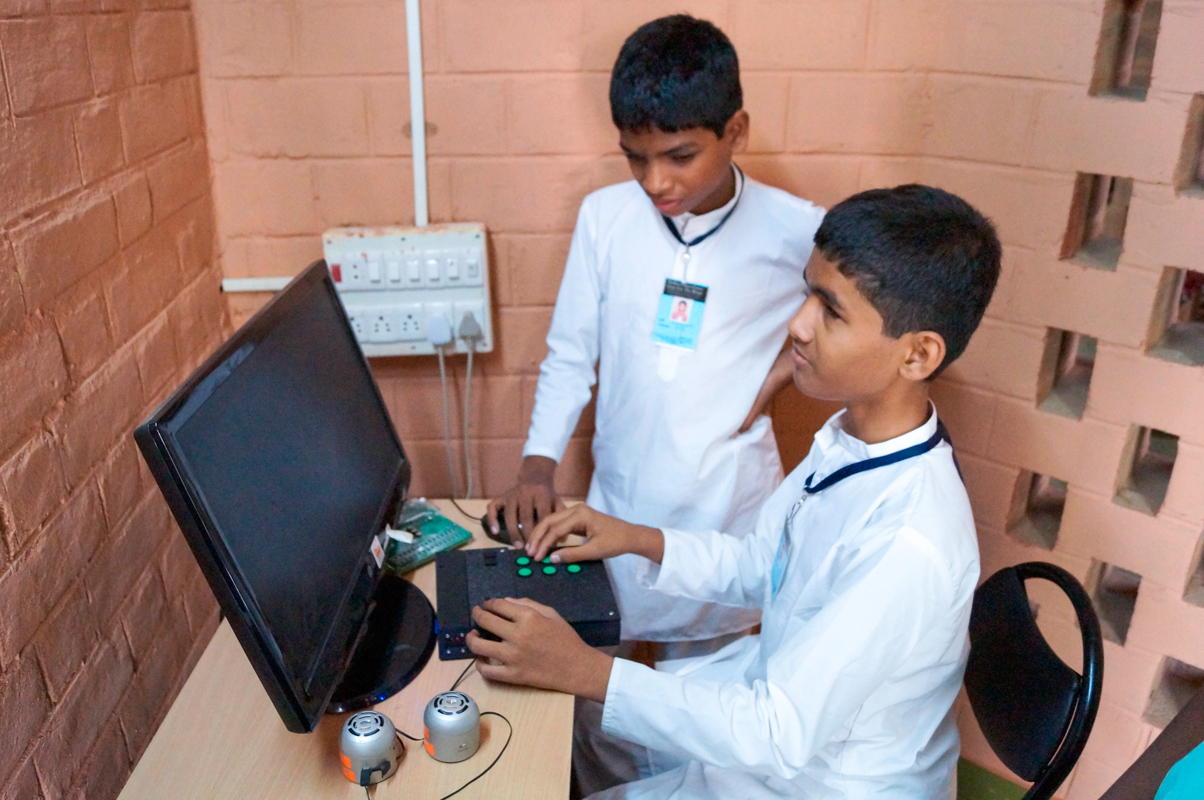 TechBridgeWorld, a research group in Carnegie Mellon's Field Robotics Institute, was awarded the prize for their Automated Braille Tutor technology, an electronic device currently being implemented in India to aid blind students. (credit: Ermine Teves)