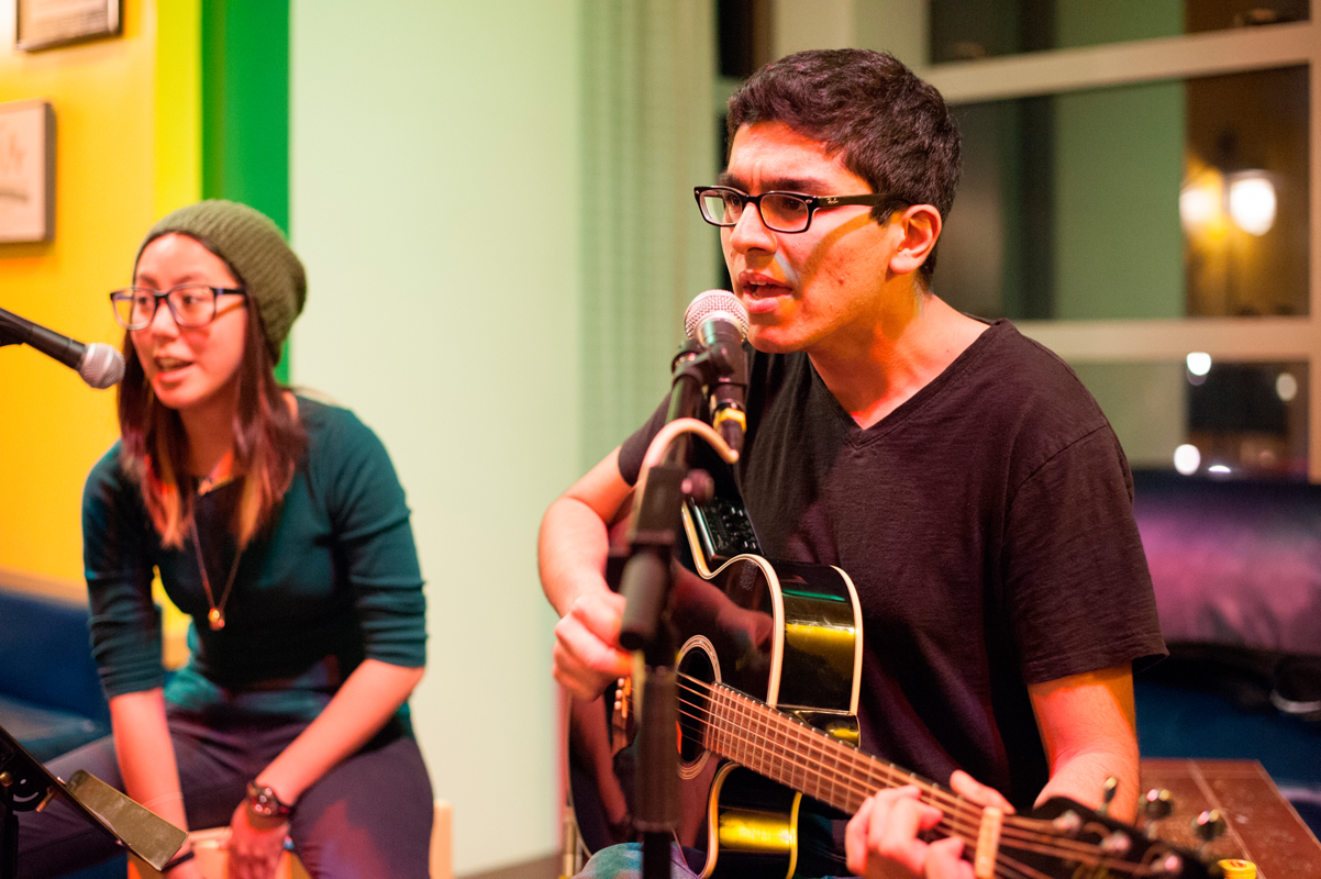 First-year mechanical engineering major Varun Gadh combined his fresh-sounding voice and musical talents with a variety of other performers during his set. (credit: Matthew Nielsen/)