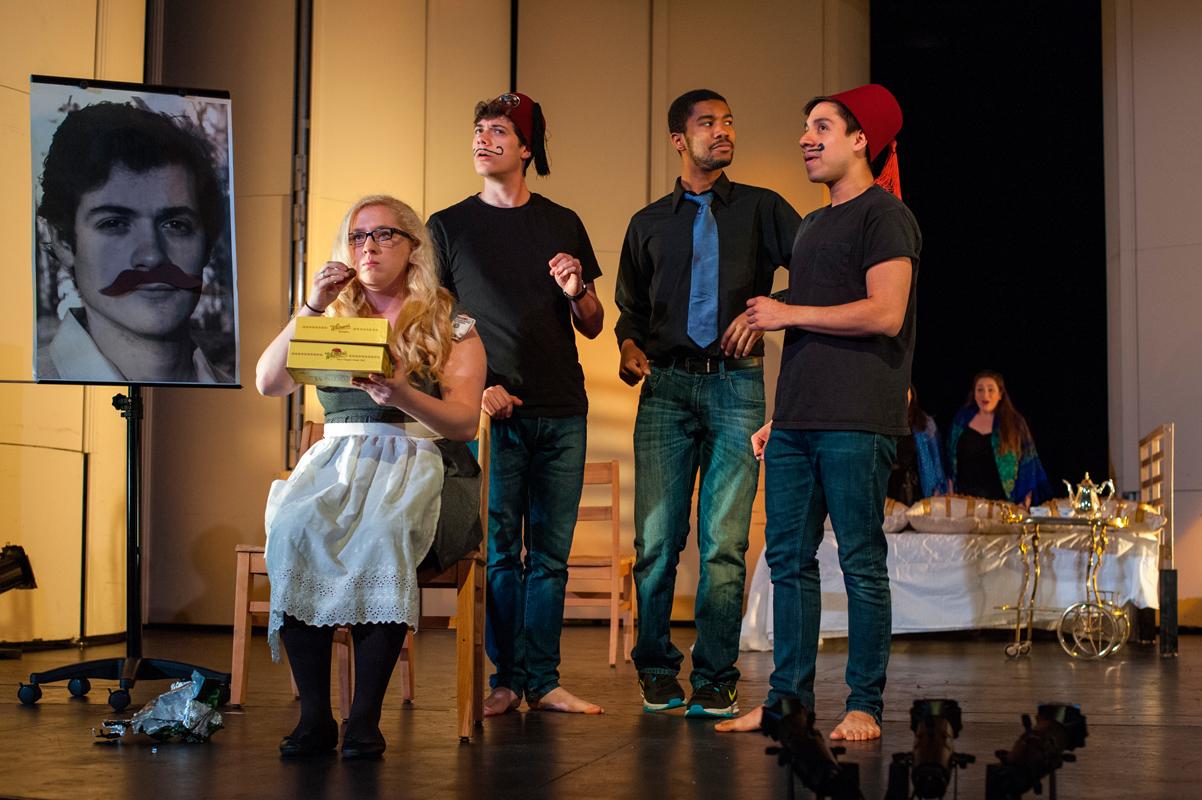Singers demonstrate their comedic chops in a scene from Mozart's opera *Così fan tutte, ossia La scuola degli amanti.* (credit: Matthew Nielsen/)