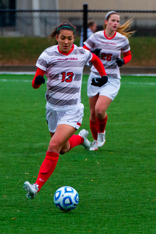 Junior creative writing and professional writing major Carson Quiros, hailing from Georgia, plays midfield on Carnegie Mellon's women's soccer team.   (credit: Kevin Zheng/Assistant Photography Editor)