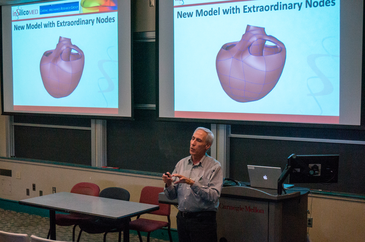 Lewis Waldman, CEO of Insilicomed Inc., spoke last week at Carnegie Mellon about his work involving the development of a 3D simulation of the heart.