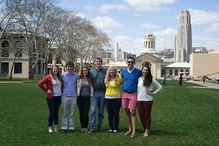 Left to right: Jenny Young, Residences on the Hill; Ben Siegel, Mudge House; Caitlin Lohman, Residence on Fifth; Theodore Warhoe, Stever House; Meg Boyle, Morewood E-Tower, Zuojun Gong, Donner House; and Sawsan Boutemine, Residences on the Hill. (credit: Courtesy of Sawsan Boutemine)