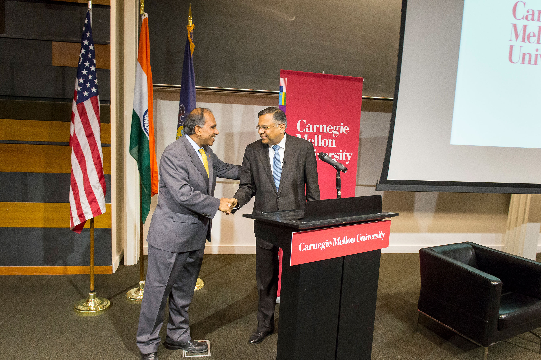 Subra Suresh shakes TCS CEO Natarajan Chandrasekaran's hand. (credit: Courtesy of Carnegie Mellon University)