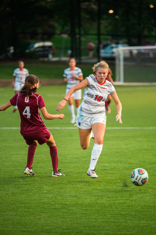 Junior forward Megan Bartoshuk chases after a ball. (credit: Staff Photographer)