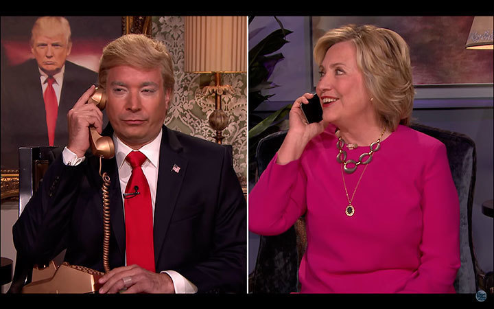 "Secretary Hillary Clinton joined late night comedy king Jimmy Fallon during a conversation in which he impersonated Donald Trump, and Clinton quipped ""let me grab my pen"" as she reached for a glass of what appeared to be white wine. (credit: Courtesy of *The Tonight Show Starring Jimmy Fallon* via YouTube)"