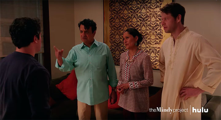 Classic Mindy comedy transpires as Danny meets Mindy's parents. (credit: Courtesy of *The Mindy Project:* a Hulu Original via YouTube)